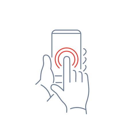 one finger: Vector linear phone and technology icons with double tapping on smartphone touchscreen with one finger gesture | flat design thin line modern grey and red illustration and infographic on white background