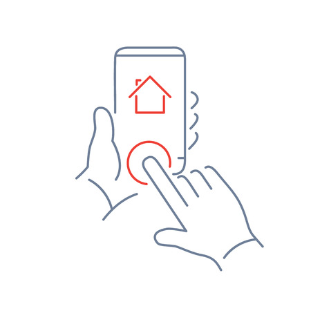phone button: Vector linear phone and technology icons with hand tapping on home button on smartphone | flat design thin line modern grey and red illustration and infographic on white background