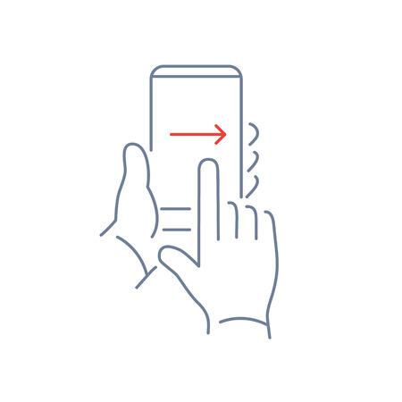 ベクトルのスマート フォン タッチ スクリーンの右側に左から 1 本の指で手ジェスチャーのスワイプで線形の電話や技術のアイコン |フラットなデザ