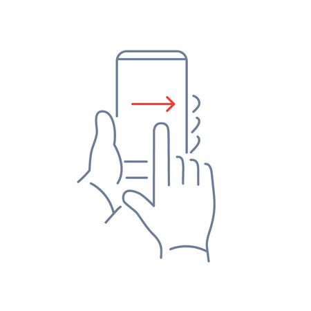 Vector linear phone and technology icons with hand gesture swipe with one finger from left to right side on smartphone touchscreen | flat design thin line modern grey and red illustration and infographic on white background Ilustrace