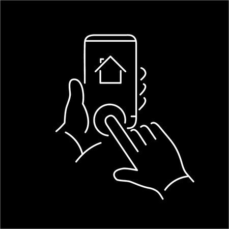 home button: Vector linear phone and technology icons with hand tapping on home button on smartphone | flat design thin line modern white illustration and infographic on black background Illustration