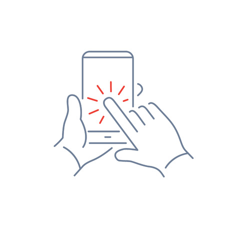 one finger: Vector linear phone and technology icons set with hand tapping on smart phone touchscreen with one finger gesture | flat design thin line modern grey and red illustration and infographic on white background Illustration