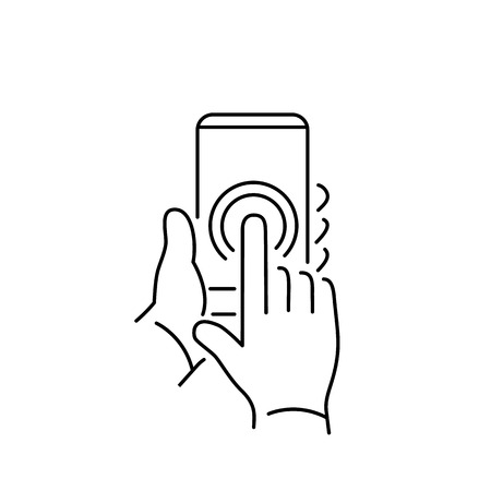 one finger: Vector linear phone and technology icons with double tapping on smartphone touchscreen with one finger gesture | flat design thin line modern black illustration and infographic on white background