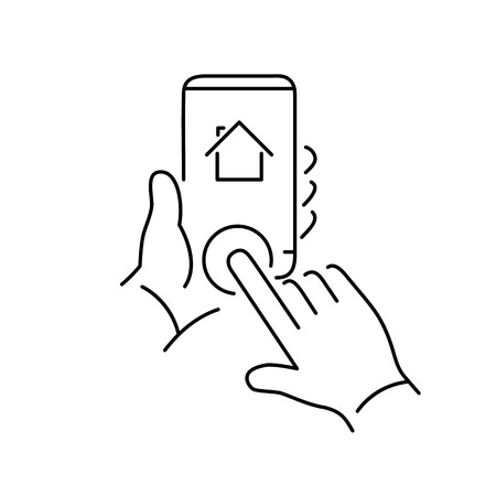 phone button: Vector linear phone and technology icons with hand tapping on home button on smartphone | flat design thin line modern black illustration and infographic on white background