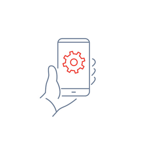 background settings: Vector linear phone and technology icons with settings gear icon on phone screen in hand | flat design thin line modern grey and red illustration and infographic on white background Illustration