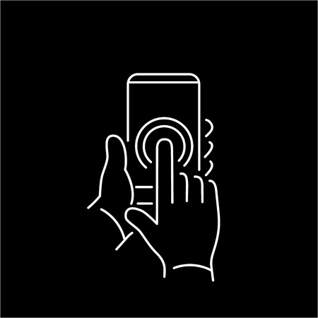 tapping: Vector linear phone and technology icons with double tapping on smartphone touchscreen with one finger gesture | flat design thin line modern white illustration and infographic on black background