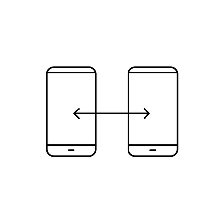 syncing: Vector linear phone and technology icons with syncing gesture transfering between two smartphones | flat design thin line modern black illustration and infographic on white background