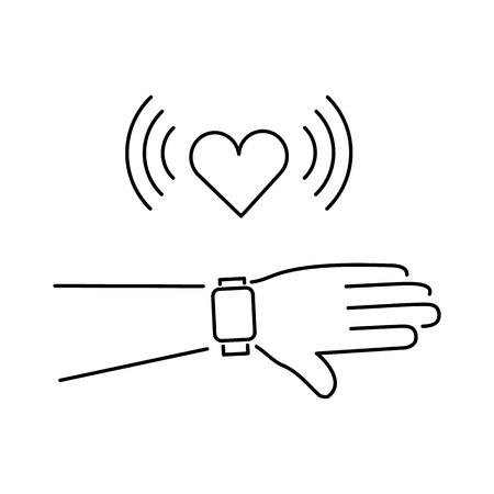 touchscreen: Vector smart watch linear icon with love heart message on smartwatches touchscreen display hand gesture | flat design thin line black modern illustration and infographic isolated on white background