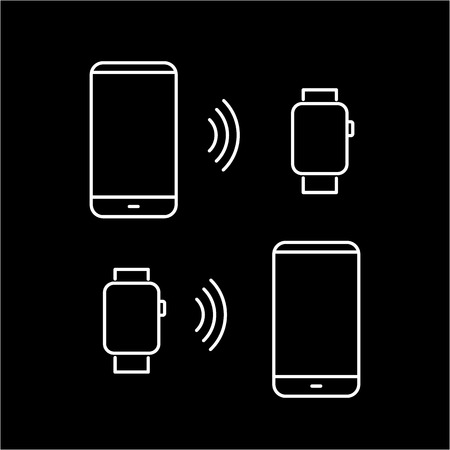 wirelessly: Vector smart watch linear icon with transferring data wirelessly between smartwatch and smartphone | flat design thin line white modern illustration and infographic isolated on black background Illustration