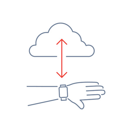 syncing: Vector smart watch linear icon with syncing smartwatches on hand gesture with cloud | flat design thin line blue and red modern illustration and infographic isolated on white background