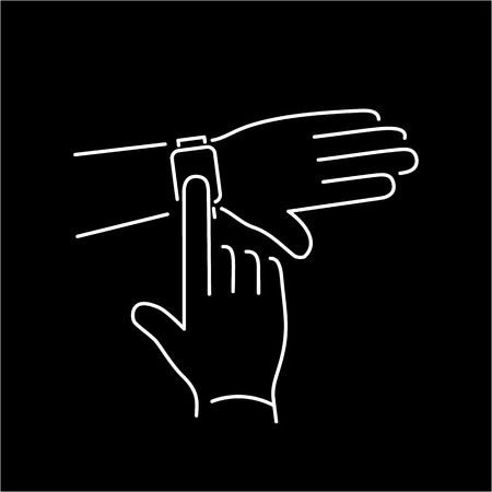 tapping: Vector smart watch linear icon with smartwatch tapping on display with one finger gesture | flat design thin line white modern illustration and infographic isolated on black background Illustration