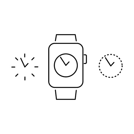 choosing: Vector smart watch linear icon with choosing different dial design on smartwatch display | flat design thin line black modern illustration and infographic isolated on white background