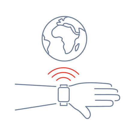 wirelessly: Vector smart watch linear icon with smartwatches on hand wirelessly connected to the internet world gesture   flat design thin line blue and red modern illustration and infographic isolated on white background