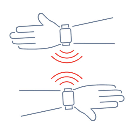wireless communication: Vector smart watch linear icon with two smart watch on two hands wireless communication | flat design thin line blue and red modern illustration and infographic isolated on white background Illustration