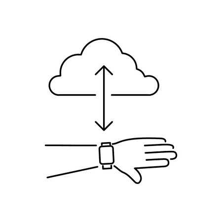 syncing: Vector smart watch linear icon with syncing smartwatches on hand gesture with cloud | flat design thin line black modern illustration and infographic isolated on white background