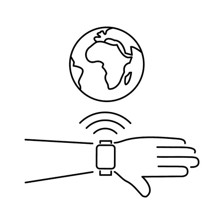 connected world: Vector smart watch linear icon with smartwatches on hand wirelessly connected to the internet world gesture | flat design thin line black modern illustration and infographic isolated on white background