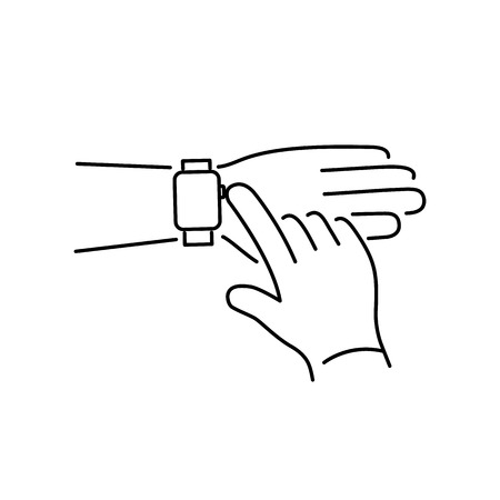 push button: Vector smart watch linear icon with push button on smartwatches with one finger gesture | flat design thin line black modern illustration and infographic isolated on white background Illustration