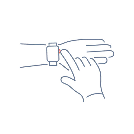 push button: Vector smart watch linear icon with push button on smartwatches with one finger gesture | flat design thin line blue and red modern illustration and infographic isolated on white background