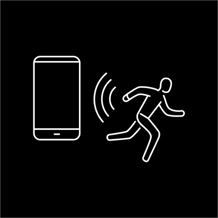 wirelessly: Vector smart watch linear icon with sportsman running and wirelessly tranfering data from smartwatch to smartphone   flat design thin line white modern illustration and infographic isolated on black background Illustration