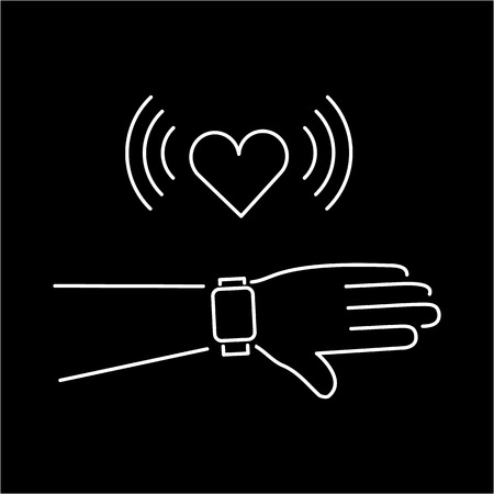 touchscreen: Vector smart watch linear icon with love heart message on smartwatches touchscreen display hand gesture | flat design thin line white modern illustration and infographic isolated on black background Illustration