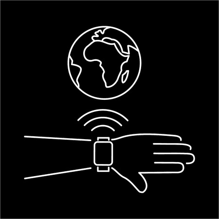 wirelessly: Vector smart watch linear icon with smartwatches on hand wirelessly connected to the internet world gesture | flat design thin line white modern illustration and infographic isolated on black background