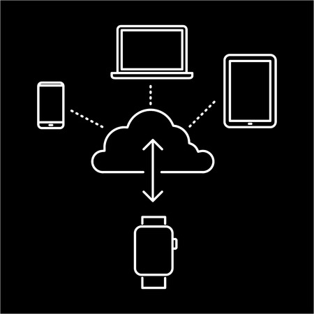 synchronizing: Vector smart watch linear icon with synchronizing smartwatches via cloud with tablet, phone and laptop | flat design thin line white modern illustration and infographic isolated on black background Illustration