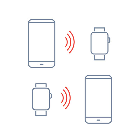 wirelessly: Vector smart watch linear icon with transferring data wirelessly between smartwatch and smartphone   flat design thin line blue and red modern illustration and infographic isolated on white background