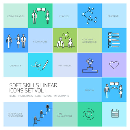 personality development: Soft skills vector linear icons and pictograms set black on colorful background