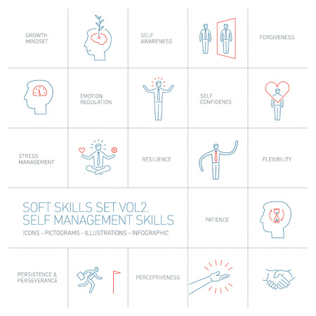 personality development: Self management soft skills vector linear icons and pictograms set blue and red on white background