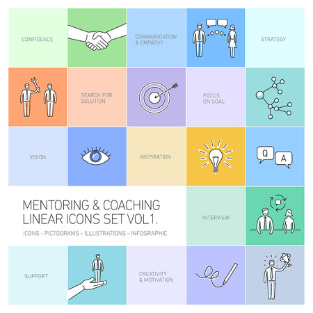 mentoring: vector abstract mentoring and coaching linear icons and pictograms set of skills and solutions black on colorful background Illustration