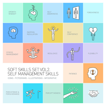Self management soft skills vector linear icons and pictograms set black on colorful background Vectores