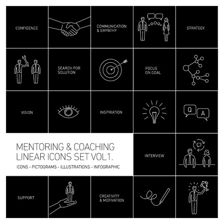 superacion personal: vector abstract mentoring and coaching linear icons and pictograms set of skills and solutions white isolated on black background Vectores