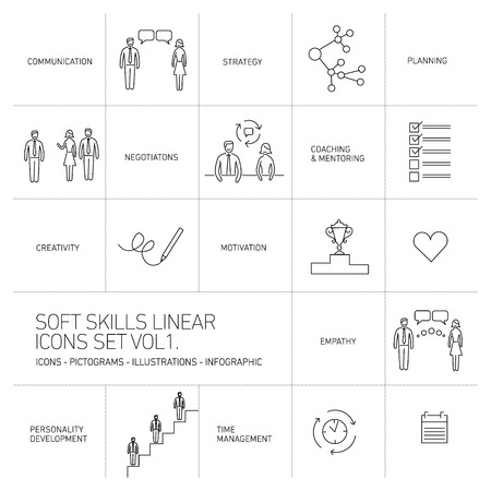personality development: Soft skills vector linear icons and pictograms set black on white background