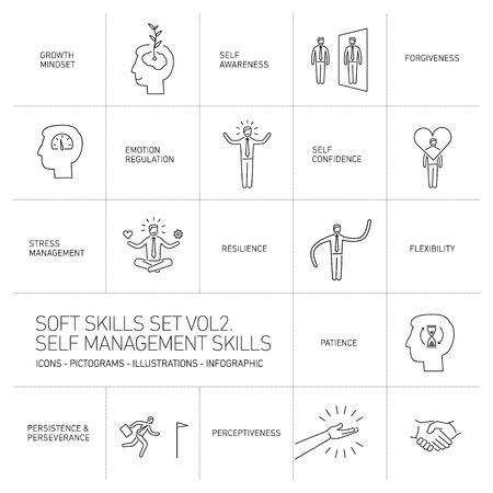 Zelfmanagement soft skills vector lineaire iconen en pictogrammen set zwart op een witte achtergrond Stock Illustratie