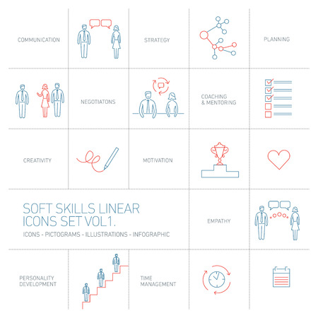 personality development: Soft skills vector linear icons and pictograms set blue and red on white background