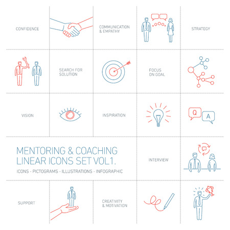 business relationship: vector abstract mentoring and coaching linear icons and pictograms set of skills and solutions blues and red islated on white background