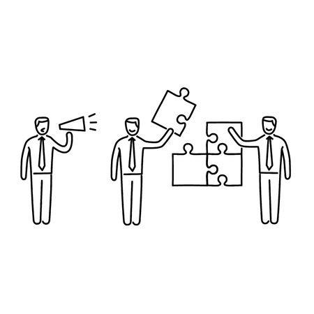 skill: Vector management skills icon of one manager and two businessman building puzzle