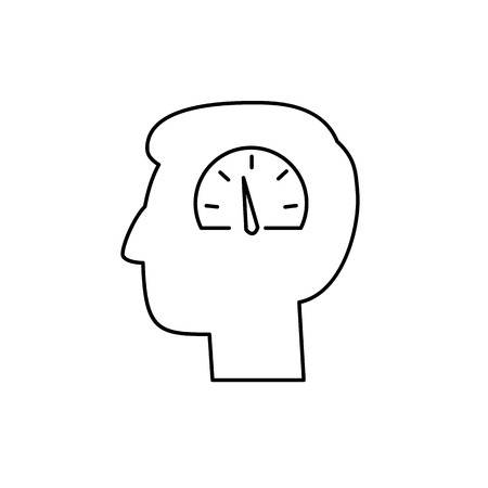 self training: Vector emotoin regulation skills icon of speedometer in brain