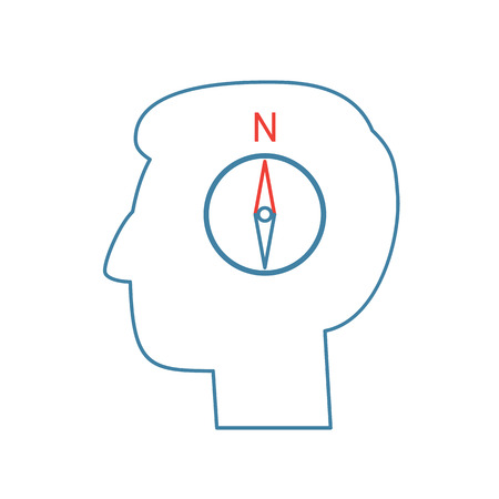 personality development: Vector management skills icon of compass in brain
