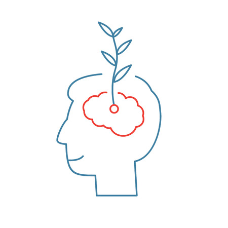 personality development: Vector growth mindset skills icon growing plant from the brain  Illustration