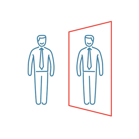 resilience: Vector self awareness skills icon of businessman standing in front of the mirror