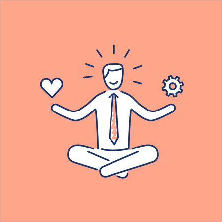 Compétences en gestion du stress Vector icône avec méditant affaires équilibre entre le travail et la vie personnelle