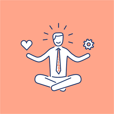 self development: Vector stress management skills icon with meditating businessman balancing work and personal life