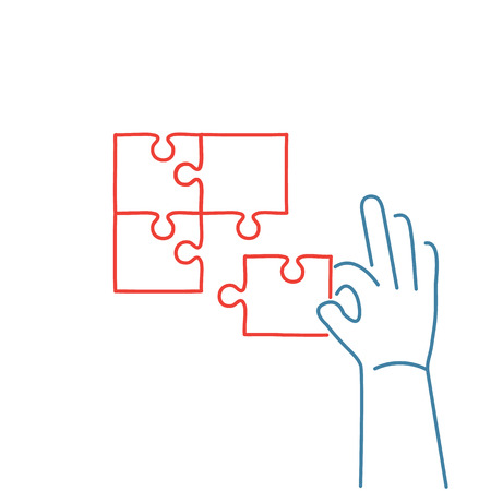 personality development: Vector skills icon of building puzzle finding solution