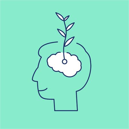벡터 성장의 사고 능력은 뇌에서 식물 성장 아이콘 만