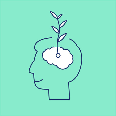 Vector growth mindset skills icon growing plant from the brain  Illustration