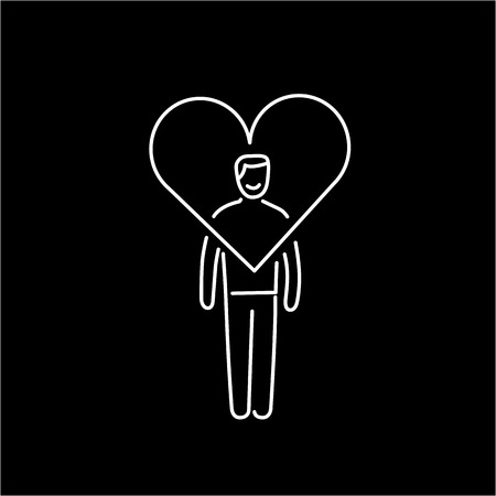forgiveness: Vector forgiveness skills icon of businessman with heart around his head