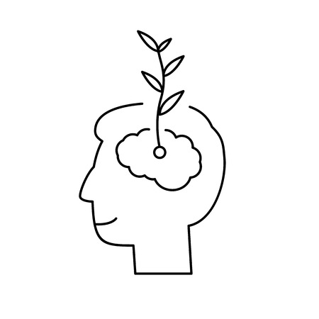 Vector growth mindset skills icon growing plant from the brain  Çizim