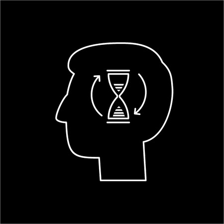 Vector patience skills icon with sand clock in brain