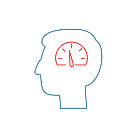 Vector emotion regulation skills icon of speedometer in brain  Vectores